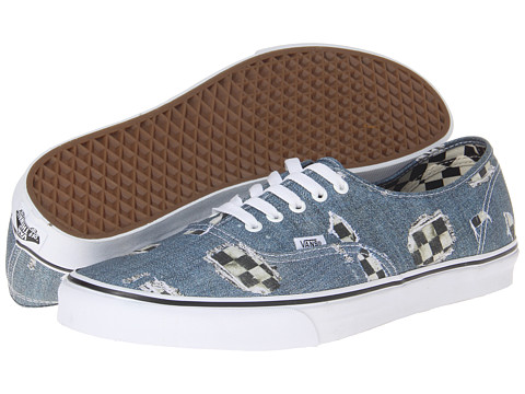 "Adidasi Vans - Authenticâ""¢ - (Denim/Checkered) Blue/True White"