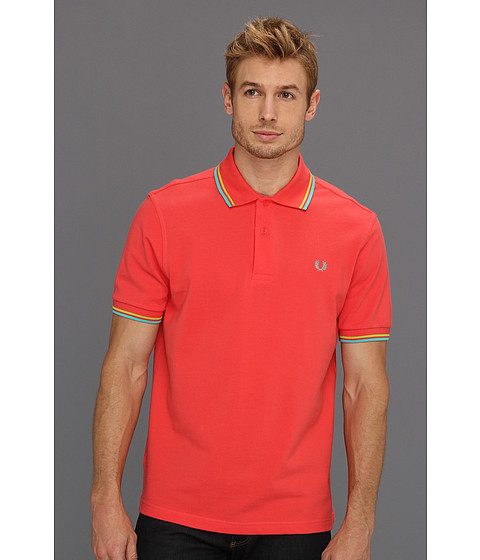 Tricouri Fred Perry - Twin Tipped Fred Perry Polo - Tropical Red/Luminary Green//Luminary Green