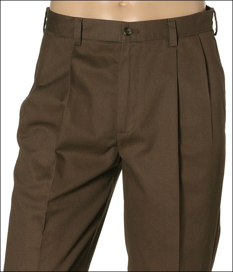 Pantaloni IZOD - Wrinkle Free American Chino Double Pleat - Decafe Coffee
