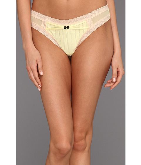 Lenjerie Betsey Johnson - Zipper Stripe Lo-Rise Wide Side Thong - Banana Cream