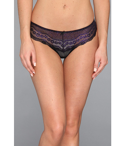 Lenjerie Betsey Johnson - Eyelet Lace Lo-Rise Wide Side Thong - Ultraviolet/Raven Black