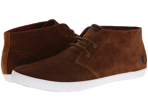 Adidasi Fred Perry - Byron Mid Suede - Havana Brown/Carbon Blue