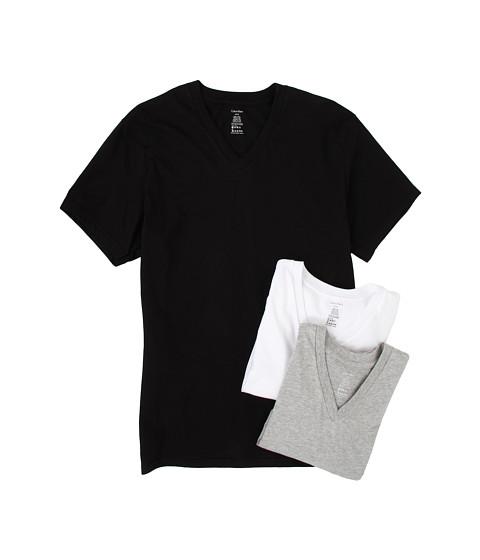 Tricouri Calvin Klein - Classic S/S V-Neck 3-Pack M9065 - White/Black/Heather Grey