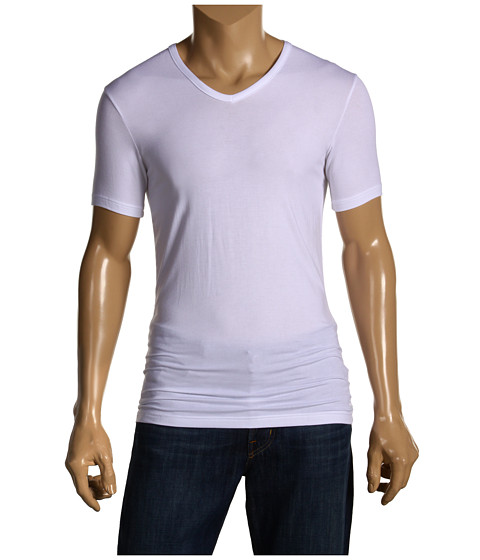 Tricouri Calvin Klein - Body Micro Modal S/S V-Neck U5563 - White