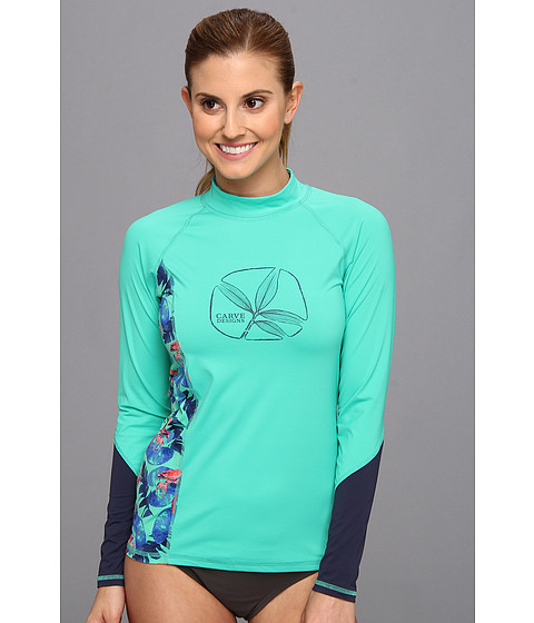 Costume de baie Carve Designs - Sunblocker Rash Guard - Mint with Mint Paradise