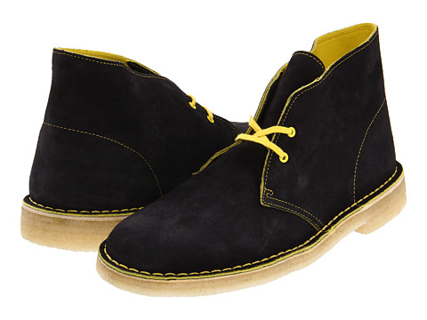 Ghete Clarks - Desert Boot - Black Suede/Yellow