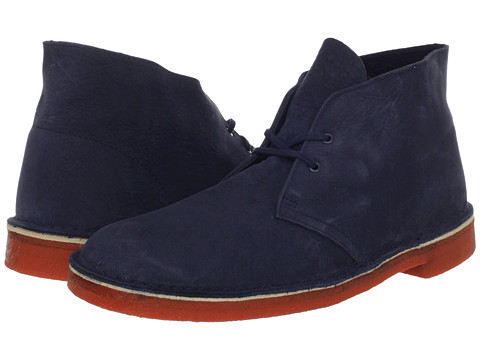 Ghete Clarks - Desert Boot - Navy Nubuck/Orange Sole