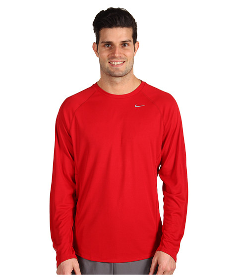 Bluze Nike - Nike L/S Miler UV - Gym Red/Gym Red Reflective Silver