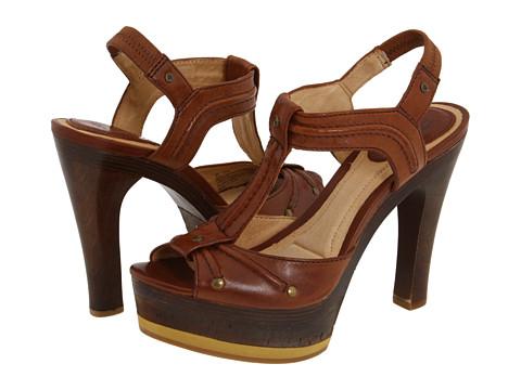 Sandale Frye - Kara Trapunto T Strap - Brown Soft Vintage Leather