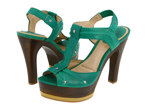 Sandale Frye - Kara Trapunto T Strap - Green Soft Vintage Leather