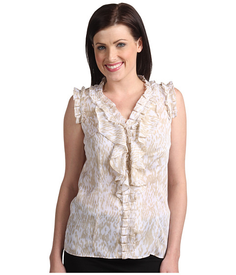 Bluze Anne Klein - Animal Printed Sleeveless Blouse - Sandrock Combo