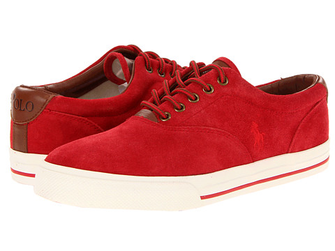 Adidasi Polo Ralph Lauren - Vaughn - Red Suede/Red Leather
