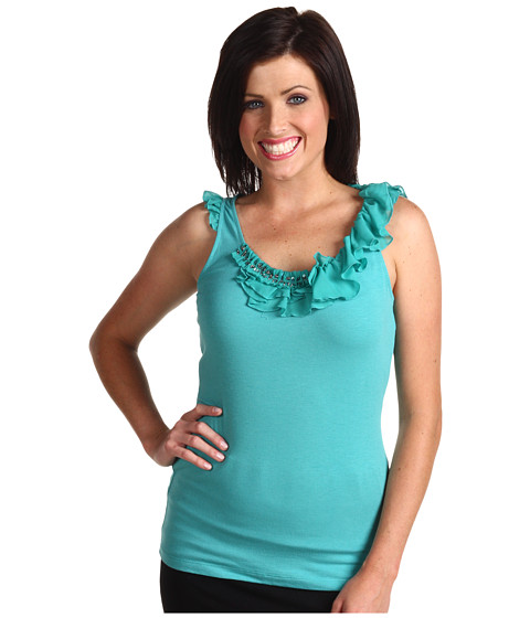 Bluze Anne Klein - Tank Top w/Ruffle Sleeves And Neck Trim - Sea Glass