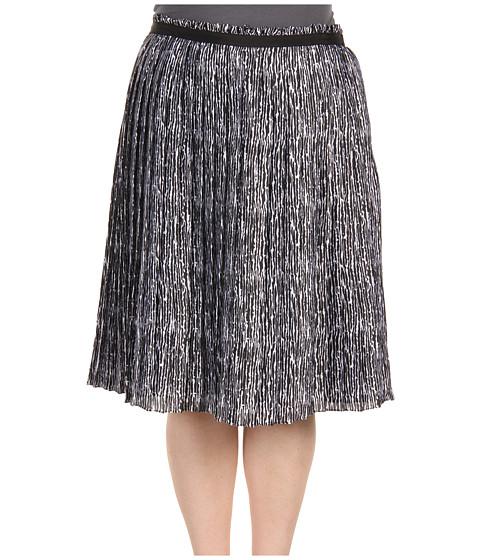 Fuste Anne Klein - Plus Size Line Print Pleated Skirt - Black/White