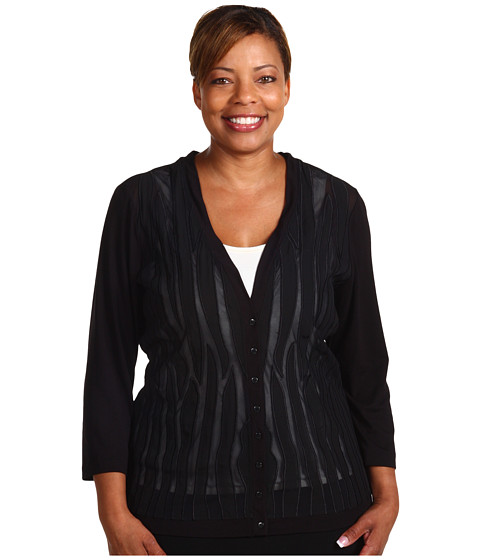 Bluze Anne Klein - Plus 3/4 Sleeve Mesh Embroidered Cardi - Black