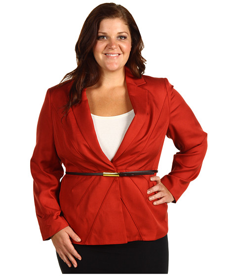 Jachete Anne Klein - Plus Size Belted Blazer - Dark Coral Clay