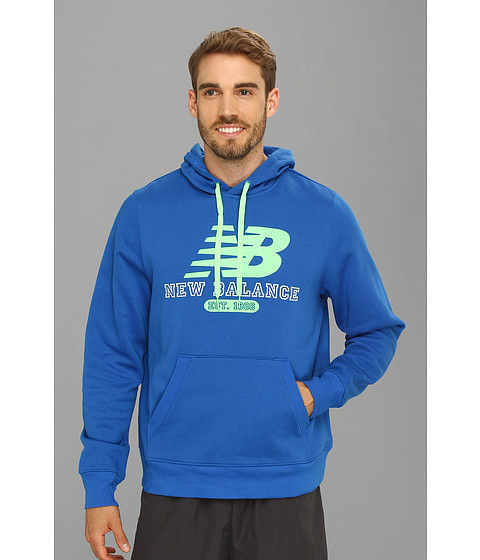 Bluze New Balance - Pullover Hoodie - Vision Blue/Green Gecko