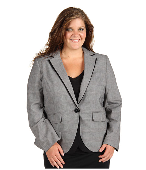 Jachete Anne Klein - Plus Size Glen Plaid Blazer - Black/Sugar
