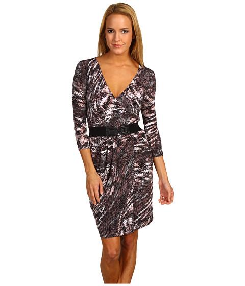 Rochii BCBGMAXAZRIA - Kimber Belted Faux Wrap Dress - Grey Dusk Combo