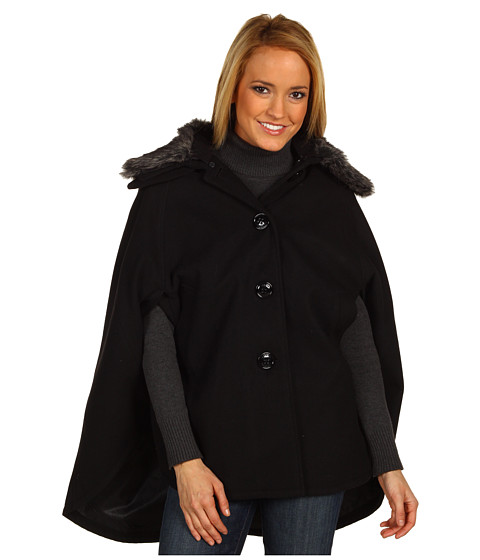 Geci Steve Madden - Faux Fur Collar Cape - Black