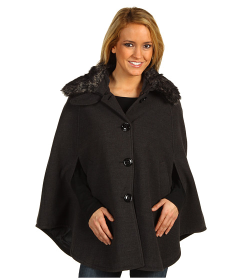 Geci Steve Madden - Faux Fur Collar Cape - Charcoal