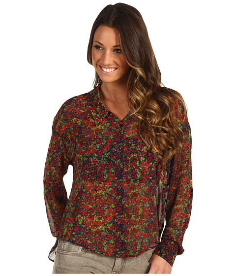 Bluze Free People - Floral Easy Rider Button Down - Navy Combo