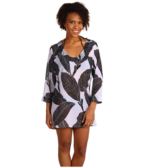 Rochii Tommy Bahama - Banana Leaf U-Neck Tunic With Bead Embellishments - White/Black