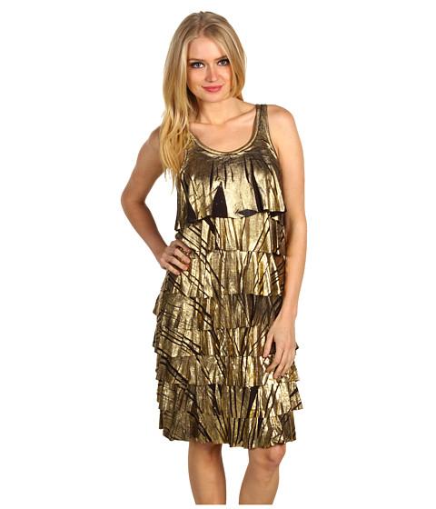 Rochii Michael Kors - Sleeveless Foil Printed Ruffle Dress - Gold
