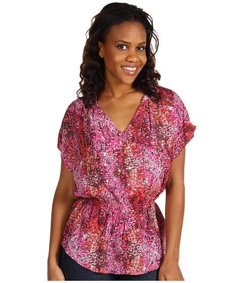 Tricouri Calvin Klein - Printed Shoulder Pleat Top - Pink Sangria Multi