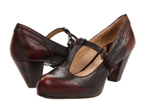 Pantofi Frye - Lois T Strap - Dark Brown Brush Off