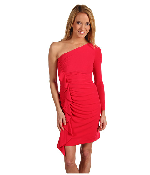 Rochii Jessica Simpson - One Sleeve Ruched Dress - Barbry Red