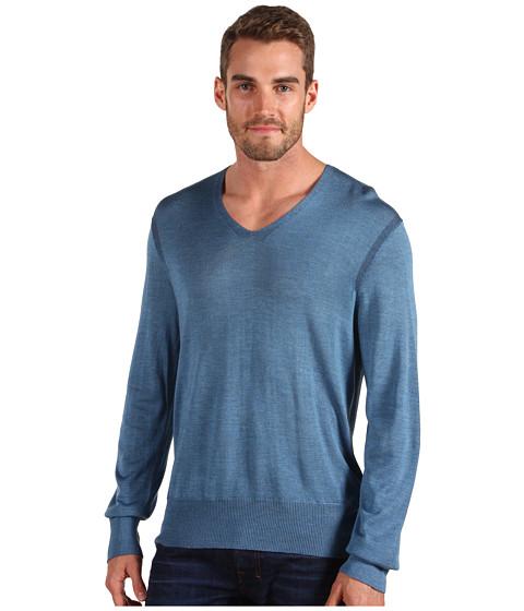 Bluze John Varvatos - Plated Silk V-Neck - Storm