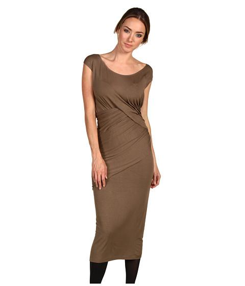 Rochii Donna Karan - Cap Sleeve Draped Dress - Nougatine