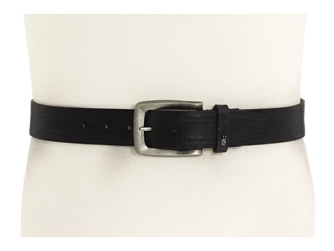 Curele John Varvatos - 38mm Strap with Leather Covered Hand Stitch - Black Leather/Nickel