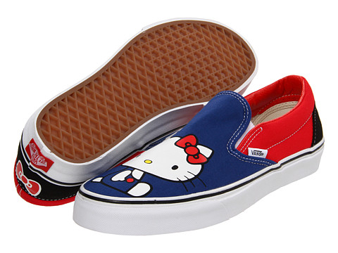 Adidasi Vans - Classic Slip-On⢠(Hello Kitty) - (Hello Kitty) Blue/Red