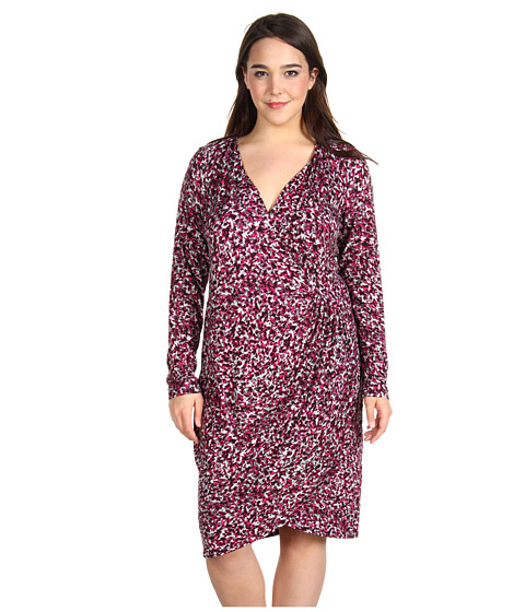 Rochii Anne Klein - Plus Size Speckle Print L/S Wrap Dress - Hot Pink