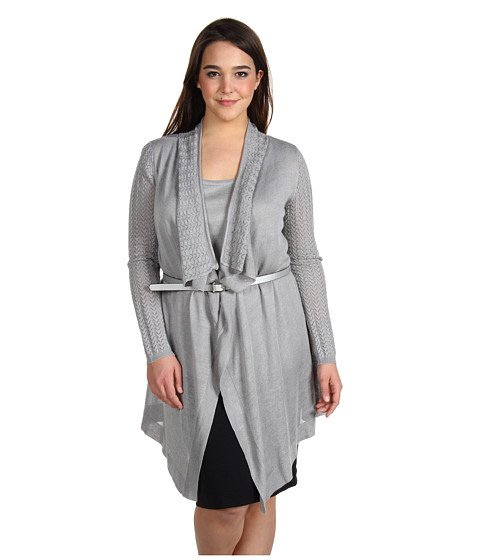 Bluze Anne Klein - Plus Size L/S Pointelle Flyaway - Silver
