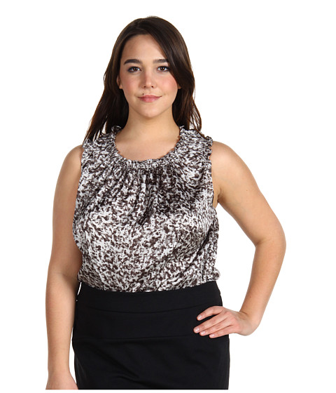 Bluze Anne Klein - Plus Size Speckle Print Sleeveless Blouse - Black Combo