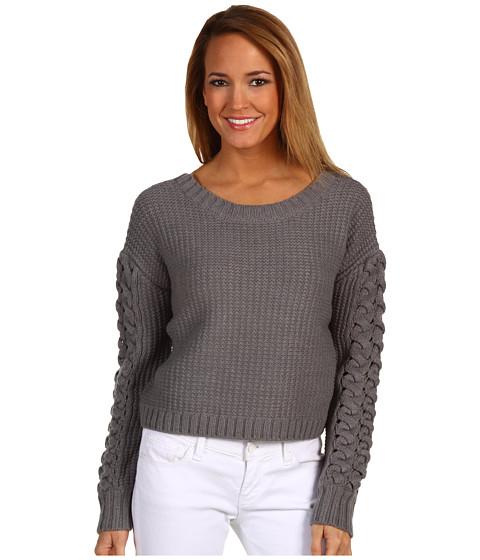 Bluze BCBGeneration - Cable Sleeve Crop Sweater - Medium Heather Grey