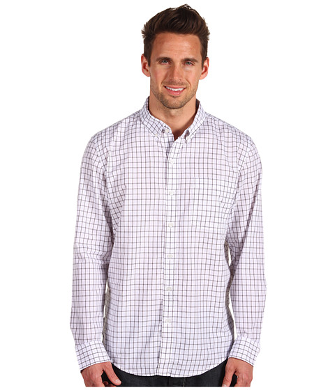 Tricouri Calvin Klein - Grid Check L/S Lean Shirt - White