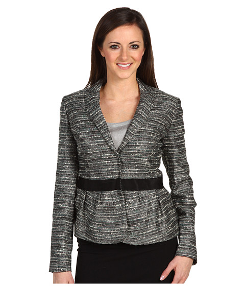 Sacouri AK Anne Klein - Petite Lurex Tweed Long Sleeve Jacket - Deep Sea