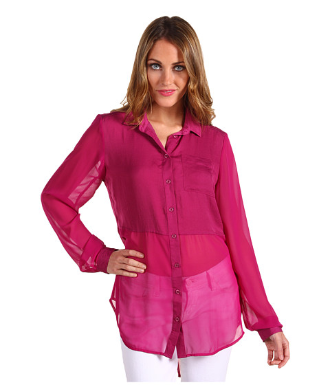 Bluze Free People - Best of Both Worlds Button Up - Hot Raspberry