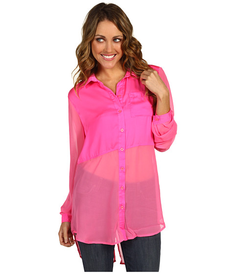 Bluze Free People - Best of Both Worlds Button Up - Neon Pink