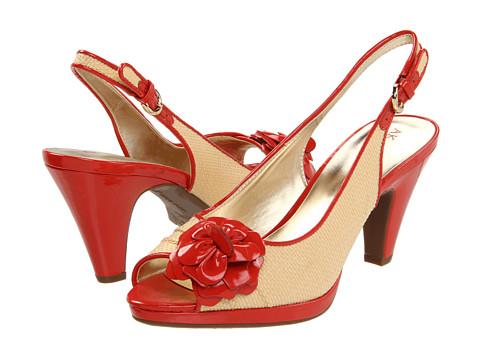 Pantofi Anne Klein - Erie - Ivory Raffia/Coral