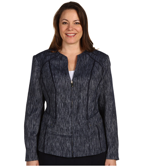 Sacouri Anne Klein - Plus Size Zip Front Jacket - Midnight Sky