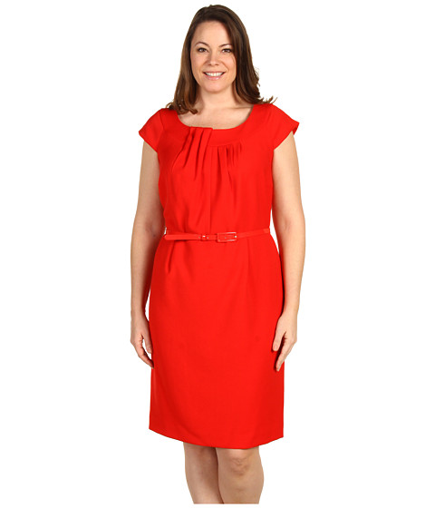 Rochii Anne Klein - Plus Size Double Weave Dress - Red Poppy
