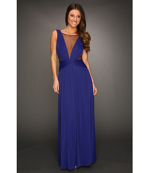 Rochii BCBGMAXAZRIA - Magdalena Mesh Inset Gown - Orient Blue