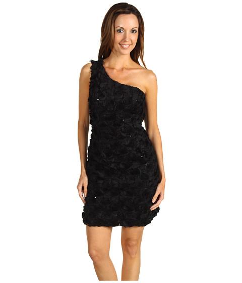 Rochii ABS Allen Schwartz - Rose Bud One Shoulder Applique Dress - Black