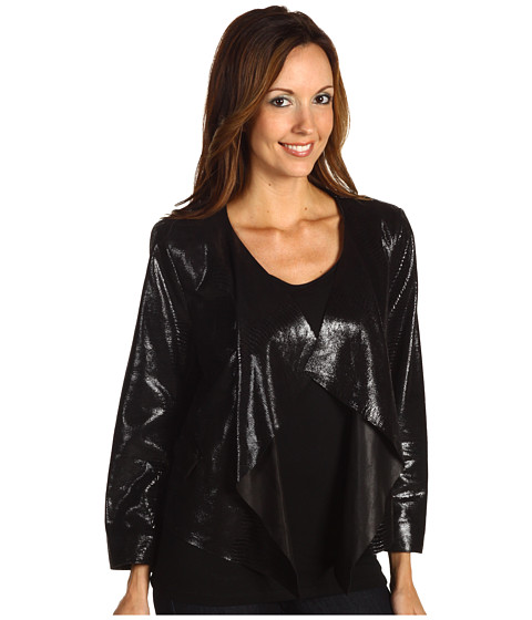 Sacouri Anne Klein - Snakeskin Cropped Jacket - Black