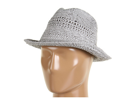 Palarii Echo Design - Textured Straw Fedora - Grey